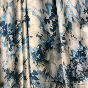 Abstract Floral Printed Silk Charmeuse - Blue - Fabrics & Fabrics