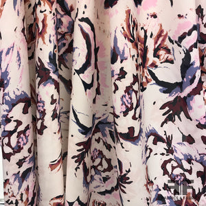 Brush Stroke Floral Printed Silk Georgette - Pale Pink - Fabrics & Fabrics