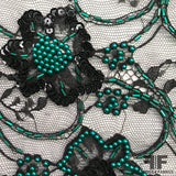 Couture Beaded Chantilly Lace - Black/Teal