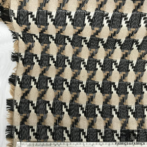 Check Loosely Woven Wool Suiting - Black/Beige