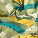 Italian Multicolor Striped Yarn Dyed Silk Satin/Taffeta - Green - Fabrics & Fabrics