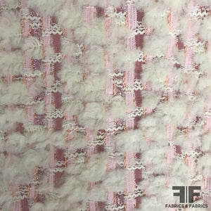 Italian Novelty Wool Tweed - Pink/White
