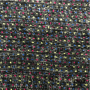 Italian Wool Tweed - Black/Pink/Blue
