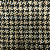 Italian Houndstooth Cotton Suiting - Black/Brown/Blue