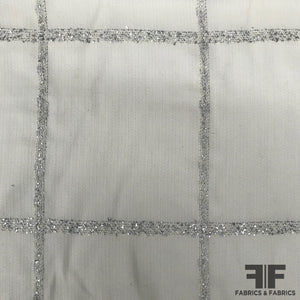 Italian Windowpane Wool Suiting - Metallic/White