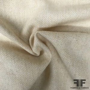 Italian Herringbone Wool Coating - Beige