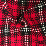 Bold Plaid Wool Coating - Red/Black - Fabrics & Fabrics NY