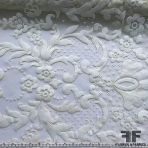 Floral Motif Flocked Tulle - White
