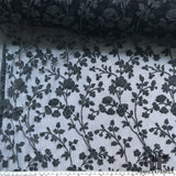 Floral Blooming Flocked Tulle - Grey/Black