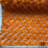 Italian Novelty Eyelash Fringe Organza - Orange