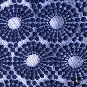 Geometric Embroidered Tulle - Blue