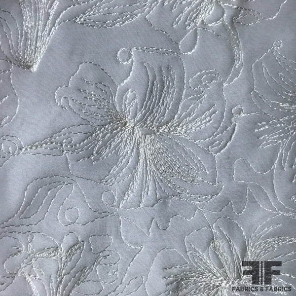 Floral Embroidered Silk Organza - White