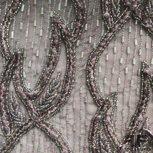 Beaded/Embroidered Silk - Grey