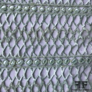 Couture Fully Beaded Geometric Lace - Mint Green - Fabrics & Fabrics NY