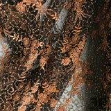 Couture Floral Beaded Netting - Black/Copper - Fabrics & Fabrics NY