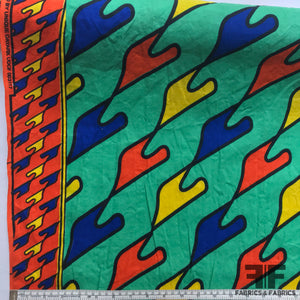 Abstract Batik Border Printed Cotton - Multicolor