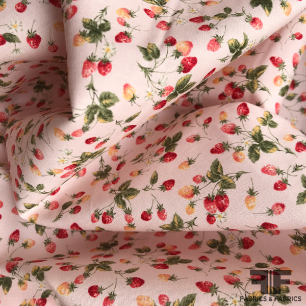 Strawberry Printed Cotton - Pink/Green/Red/Yellow