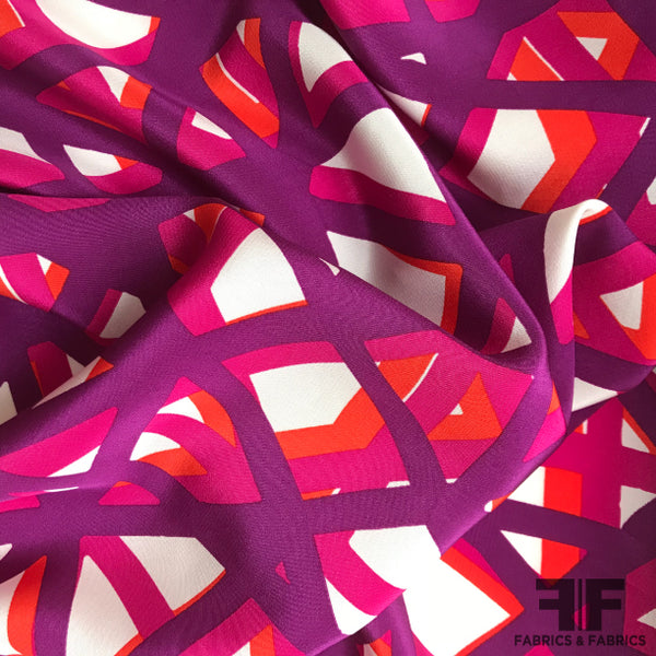 Geometric Crepe de Chine - Purple