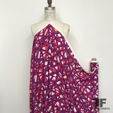 Intersecting Lines Geometric Printed Silk Crepe de Chine - Purple/Orange - Fabrics & Fabrics