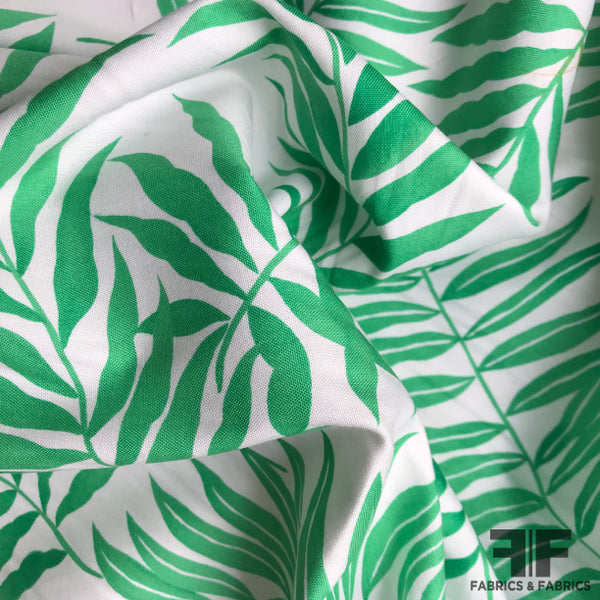 Fern Printed Cotton - Green/White - Fabrics & Fabrics NY