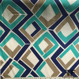 Geometric Silk Twill - Beige/Navy/Teal