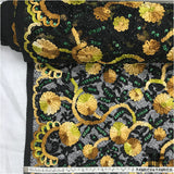 Couture Floral Beaded/Embroidered Netting -Yellow/Black - Fabrics & Fabrics NY