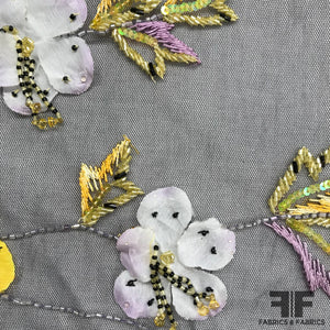 3D Floral Hand-Beaded Tulle - Black/Yellow