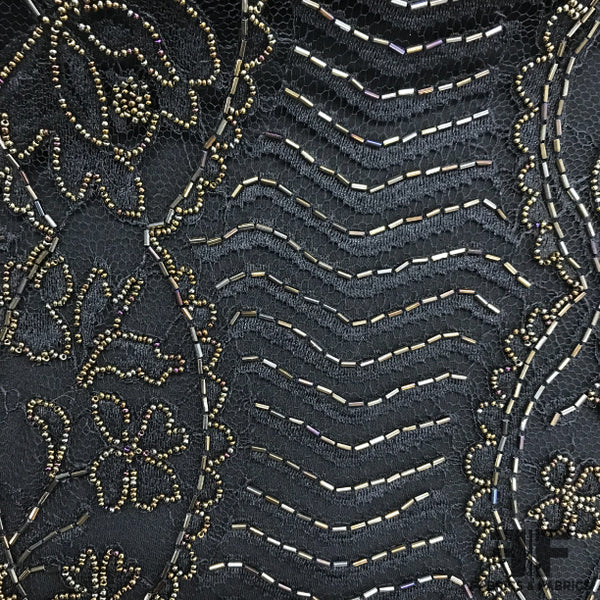 Floral/Scalloped Hand-Beaded Lace - Black/Gold