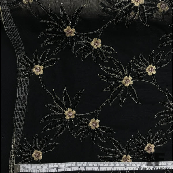 Floral Hand-Beaded/Embroidered Tulle - Black/Gold