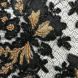 Floral/Butterfly Beaded Lace - Black/Metallic