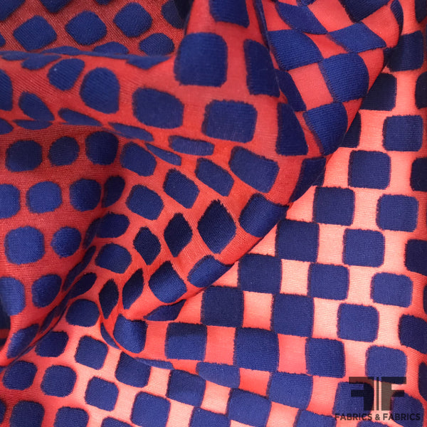 Italian Polka Dot Novelty Knit - Red/Blue - Fabrics & Fabrics