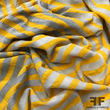 Horizontal Striped Rib Knit - Distressed Yellow/White