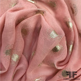 Metallic Polka Dot Gauze - Pink/Metallic