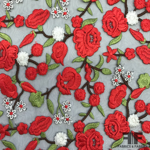 Bold Floral Embroidered Netting - Red/Black - Fabrics & Fabrics NY