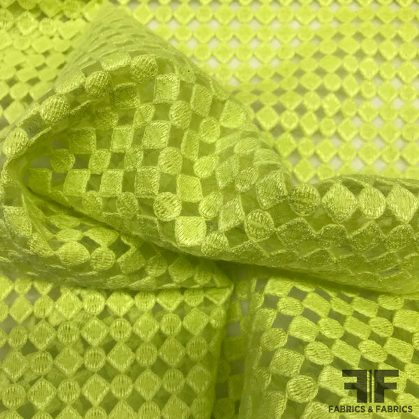 Geometric Embroidered Organza Novelty - Lime Green