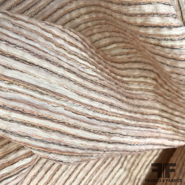 Italian Metallic Novelty - Peach - Fabrics & Fabrics