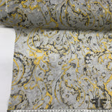 Metallic Abstract Paisley Printed Silk Chiffon - Grey/Yellow/Gold