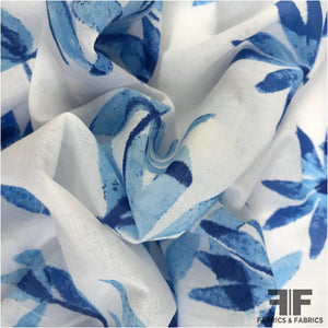 Leaf Printed Cotton - White/Blue