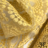 Floral Medallion Sheer Organza - Yellow
