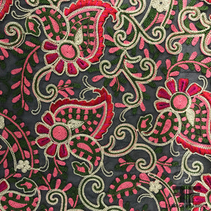 Novelty Floral Pop Embroidered Chiffon - Black/Pink