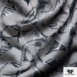Metallic Abstract Brocade fabric - Grey/Silver
