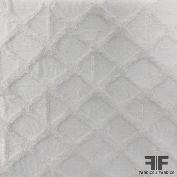 Geometric Jacquard Cotton - White