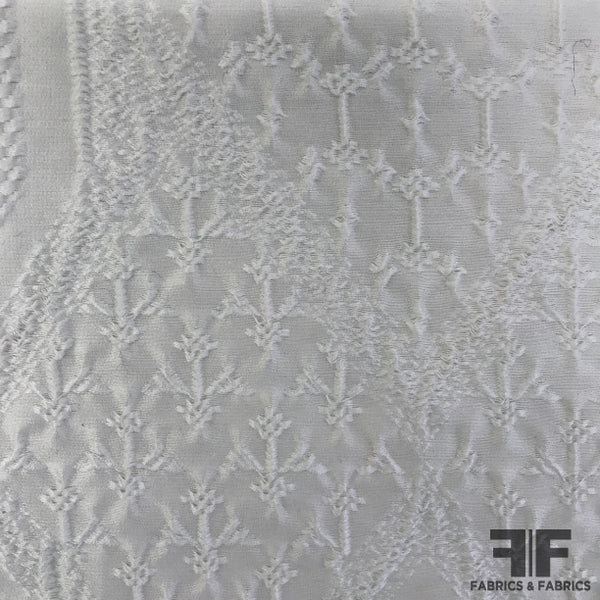 Italian Intricately Woven Cotton Brocade - White