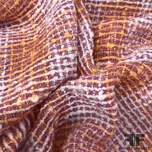 Checkered Novelty Suiting - Orange/Purple - Fabrics & Fabrics NY