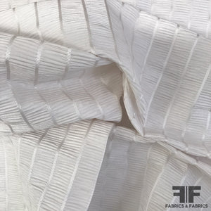 Striped/Ruched Silk Taffeta Novelty - White