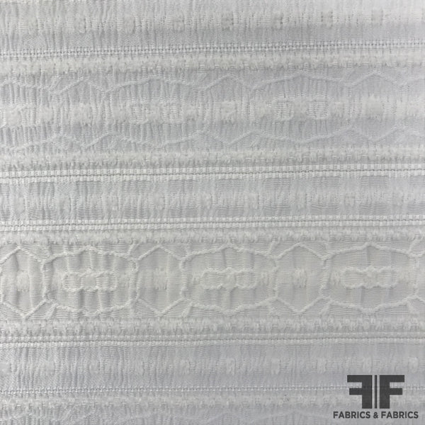 Textured Geometric Striped Brocade - White