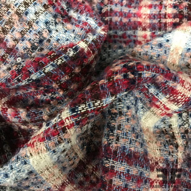 Italian Plaid Wool Tweed - Multicolor
