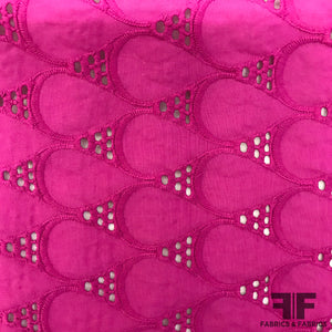 Geometric Eyelet Cotton - Purple/Pink