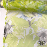 Floral & Leaf Printed Netting - Green
