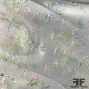 Delicate Floral Embroidered Netting - Pastels - Fabrics & Fabrics NY